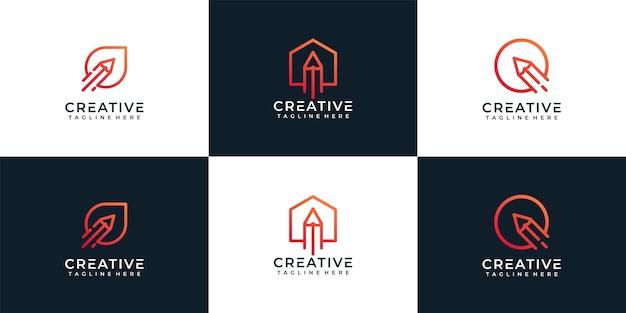 Conjunto de logotipo de lápiz corporativo.