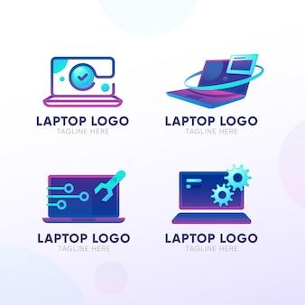 Conjunto de logotipo de laptop degradado