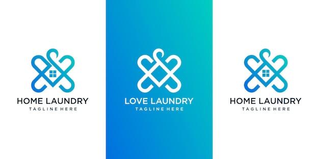 Conjunto de logotipo de lavandería en casa de amor con combinación de hogar y amor. diseño de logotipo vector premium