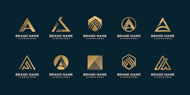 Conjunto de logotipo letra a con concepto creativo e inteligente dorado