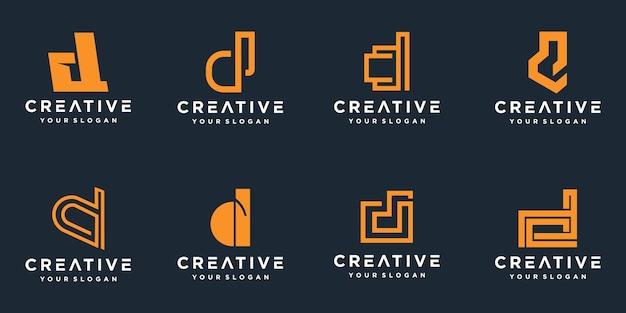 Conjunto de logotipo de letra d monograma creativo