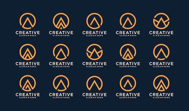 Conjunto de logotipo letra a en estilo círculo