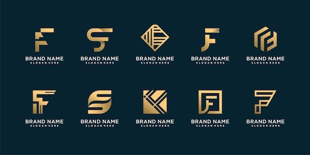 Conjunto de logotipo de letra f con concepto creativo e inteligente dorado