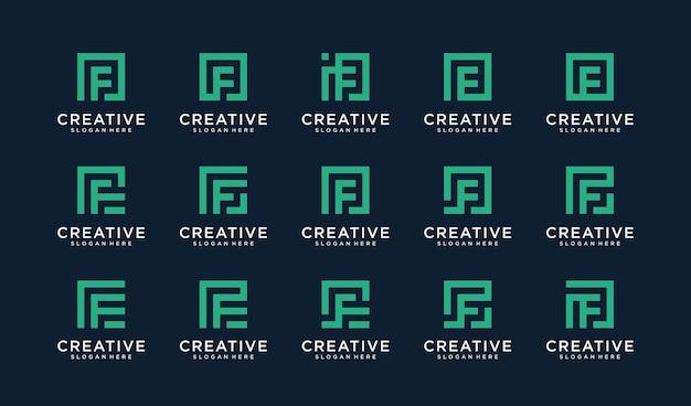 Conjunto de logotipo letra f en estilo cuadrado