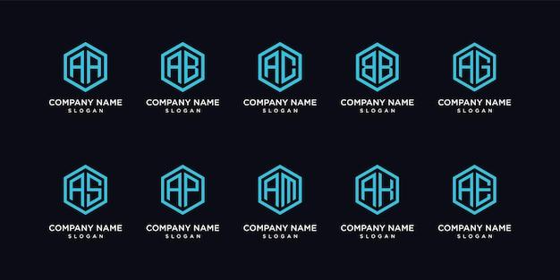 Conjunto de logotipo de letra geométrica