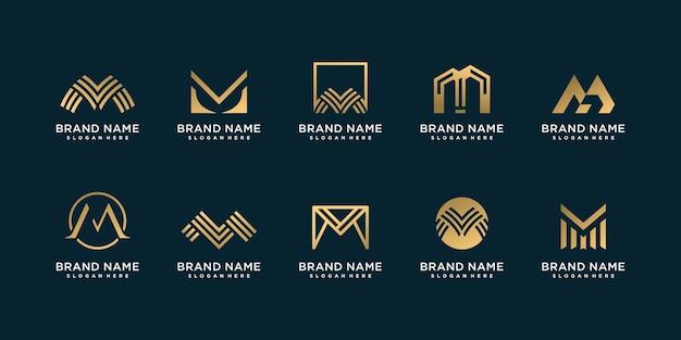 Conjunto de logotipo letra m con concepto único y dorado