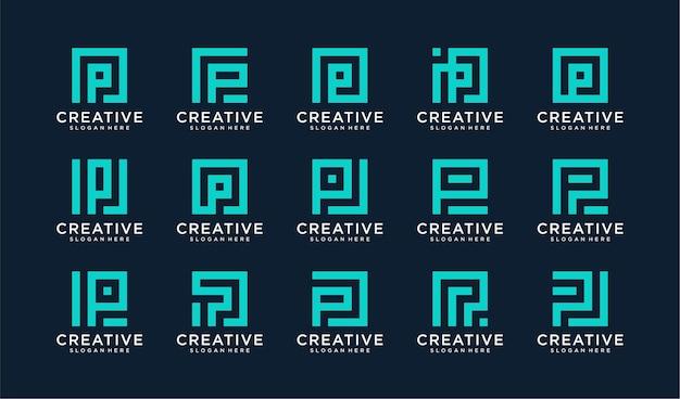 Conjunto de logotipo letra p en estilo círculo