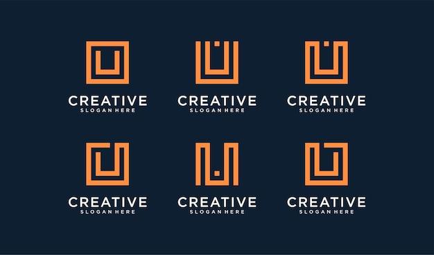 Conjunto de logotipo de letra u en estilo círculo
