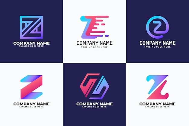 Conjunto de logotipo de letra z degradado
