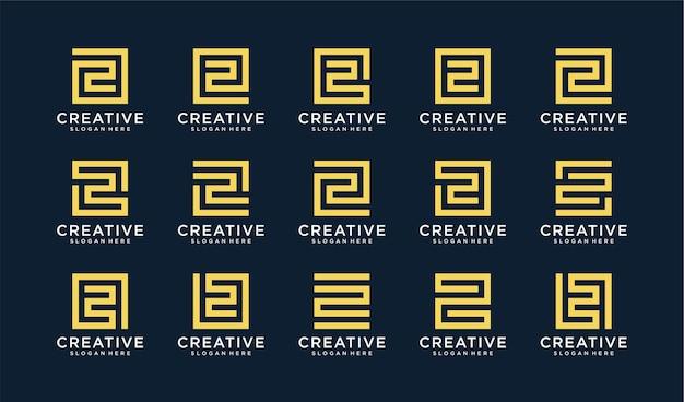 Conjunto de logotipo letra z en estilo círculo