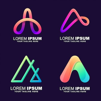Conjunto de logotipo letra a
