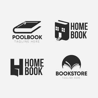 Conjunto de logotipo de libro de diseño plano