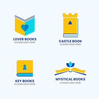 Conjunto de logotipo de libro plano