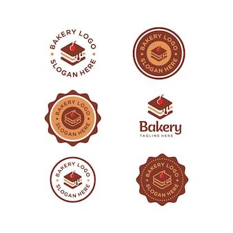 Conjunto de logotipo lindo simple de panadería colección premium