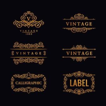 Conjunto de logotipo de línea de lujo caligráfico