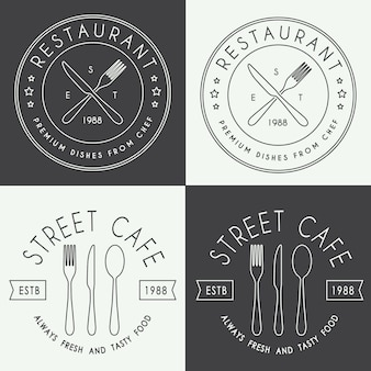 Conjunto de logotipo lineal de restaurante vintage.