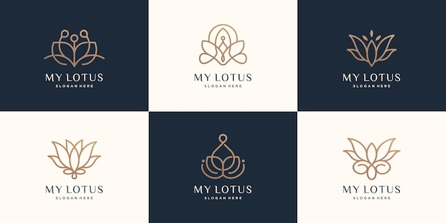 Conjunto de logotipo de lotus de lujo