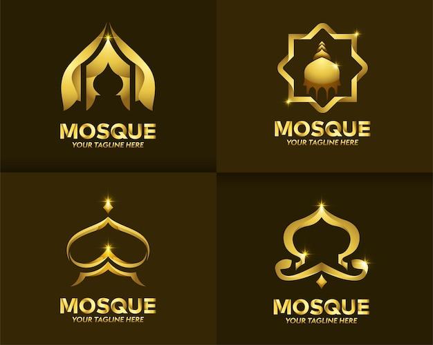 Conjunto de logotipo de lujo y color dorado islámico