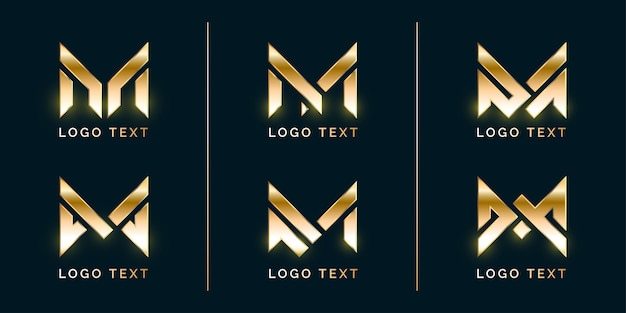 Conjunto de logotipo de lujo con estilo m