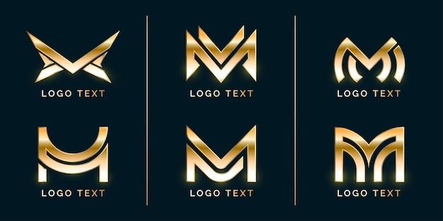 Conjunto de logotipo de lujo con estilo premium m