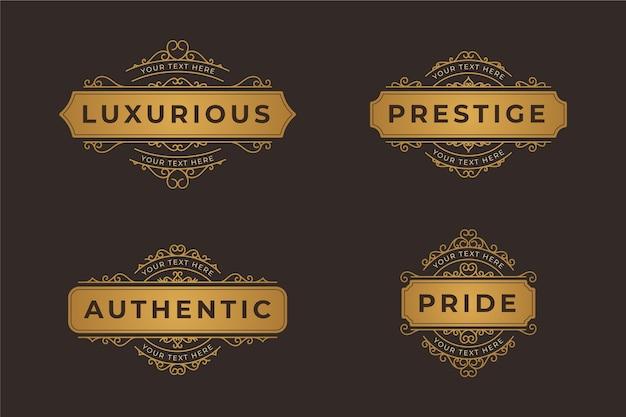 Conjunto de logotipo de lujo retro