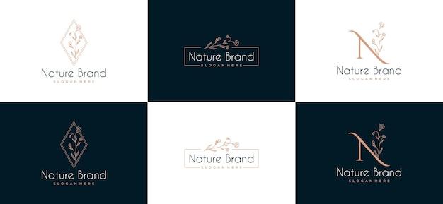 Conjunto de logotipo de marco de hoja de belleza