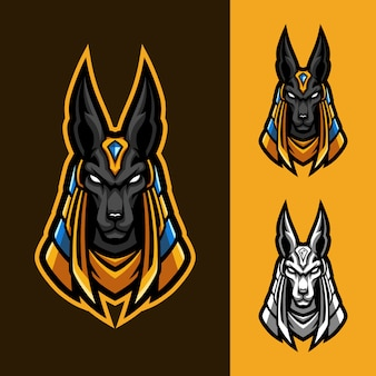 Conjunto de logotipo de mascota antigua anubis esport