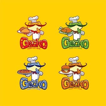 Conjunto de logotipo de mascota de comida de chef gecko