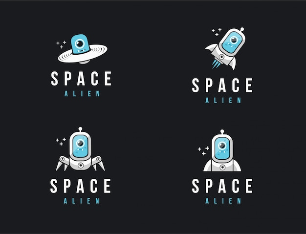 Conjunto de logotipo de mascota de dibujos animados alienígenas del espacio