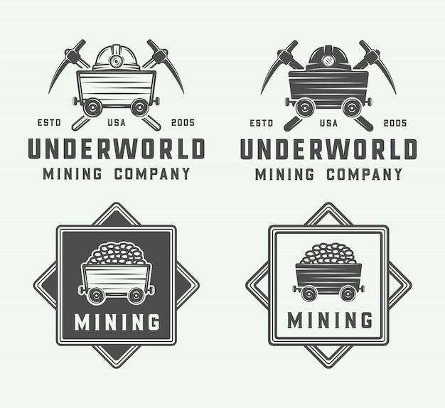Conjunto de logotipo de minería o construcción