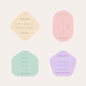 Conjunto de logotipo minimalista de colores pastel