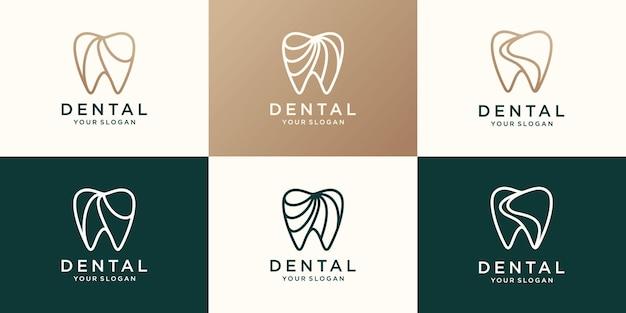 Conjunto de logotipo minimalista de dent