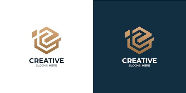 Conjunto de logotipo minimalista letra c