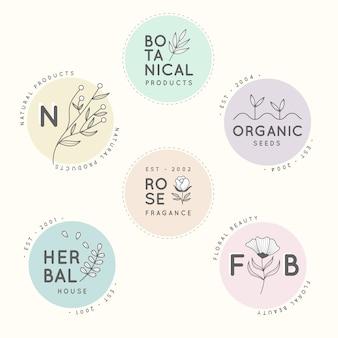 Conjunto de logotipo minimalista de negocios naturales