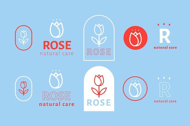 Conjunto de logotipo minimalista retro colorido