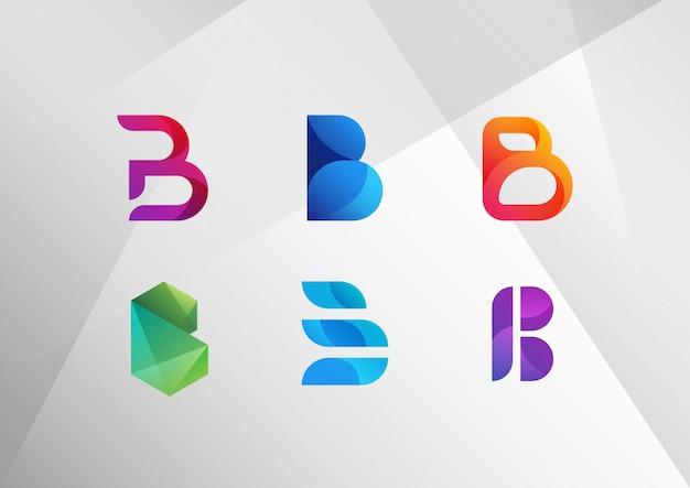 Conjunto de logotipo moderno abstracto degradado b