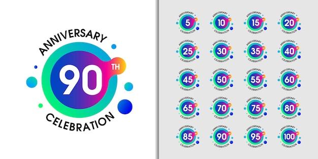 Conjunto de logotipo moderno aniversario.