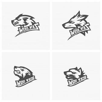Conjunto de logotipo moderno lobo profesional para un equipo deportivo. ilustración de vector de logotipo de lobo.