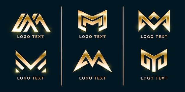 Conjunto de logotipo moderno de lujo m