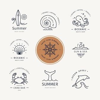 Conjunto de logotipo moderno de vida submarina