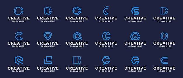 Conjunto de logotipo de monograma abstracto creativo