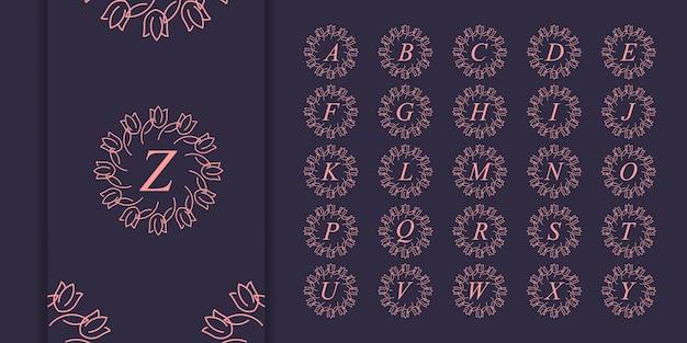 Conjunto de logotipo de monograma de adorno de lujo de letra inicial. plantilla de logotipo de alfabeto inicial de oro de lujo