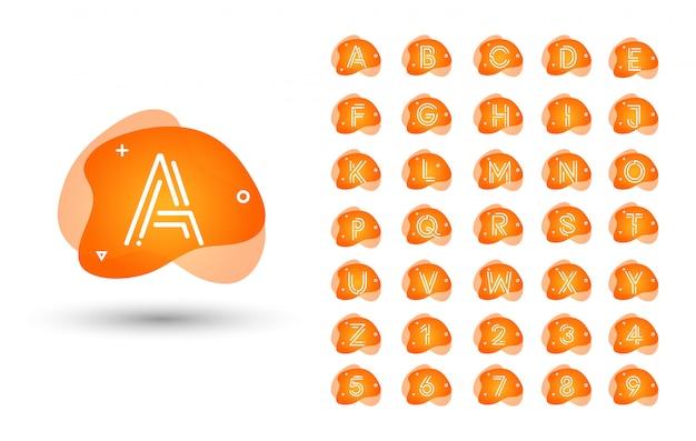 Conjunto de logotipo monograma. alfabeto líquido líquido inicial
