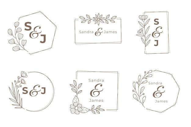 Conjunto de logotipo de monograma de boda