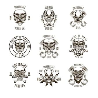 Conjunto de logotipo de motocicleta de cráneo