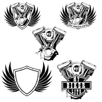 Conjunto de logotipo del motor de la máquina