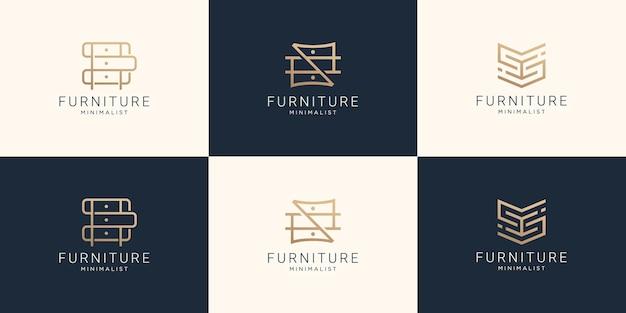 Conjunto de logotipo de muebles de colección en arte lineal.