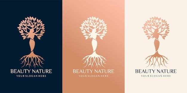 Conjunto de logotipo de naturaleza de belleza con combinación de árbol de mujer hermosa. estilo de arte vectorial premium vector premium