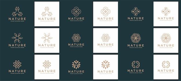 Conjunto de logotipo de naturaleza y spa.