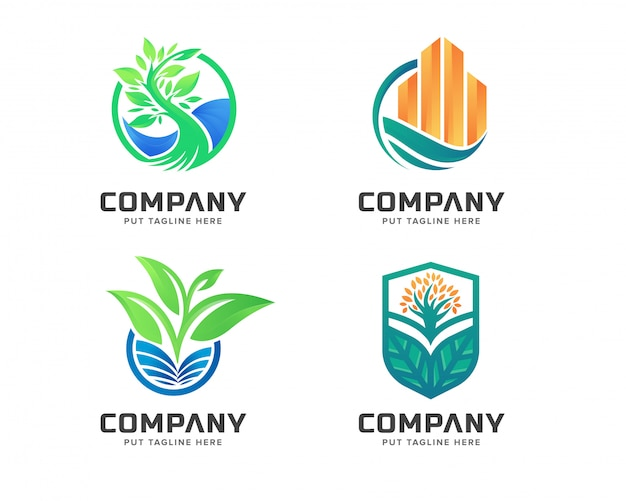 Conjunto de logotipo de naturaleza verde de negocios